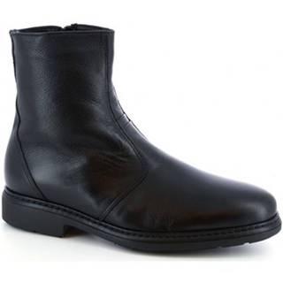 Polokozačky Leonardo Shoes  75537-I F. 755 GOMMA ILARI CUC NERO