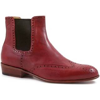 Polokozačky Leonardo Shoes  PINA 044 ROSSO