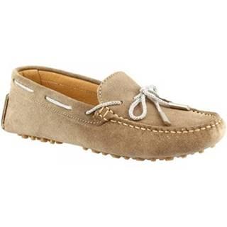 Mokasíny Leonardo Shoes  025 LUREX TAUPE