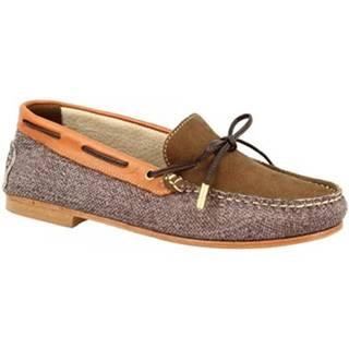 Mokasíny Leonardo Shoes  502 NABOK KAKY NAPPA CUOIO
