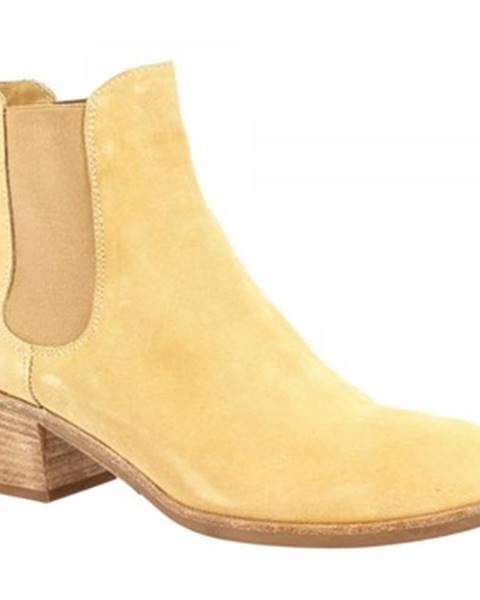 Béžové polokozačky Leonardo Shoes