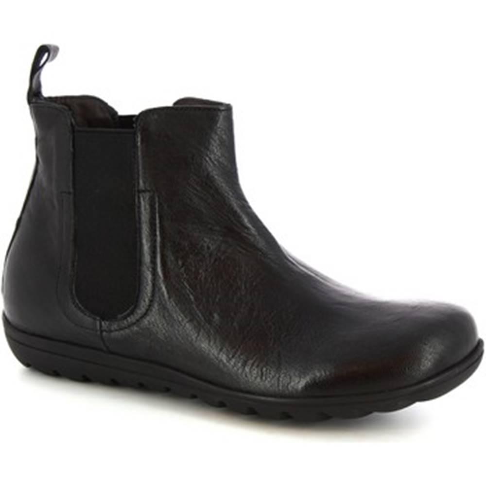 Leonardo Shoes Polokozačky Leonardo Shoes  4526 STROPICCIATO NERO