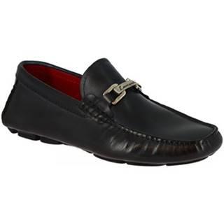 Mokasíny Leonardo Shoes  8834E19 TOM VITELLO DELAVE BLU
