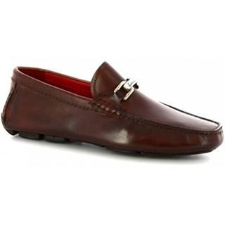 Mokasíny Leonardo Shoes  8834E19 TOM VITELLO DELAVE BRANDY