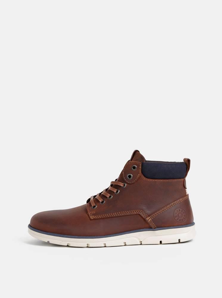 Jack & Jones Hnedé pánske kožené kotníkové topánky Jack & Jones Tubar