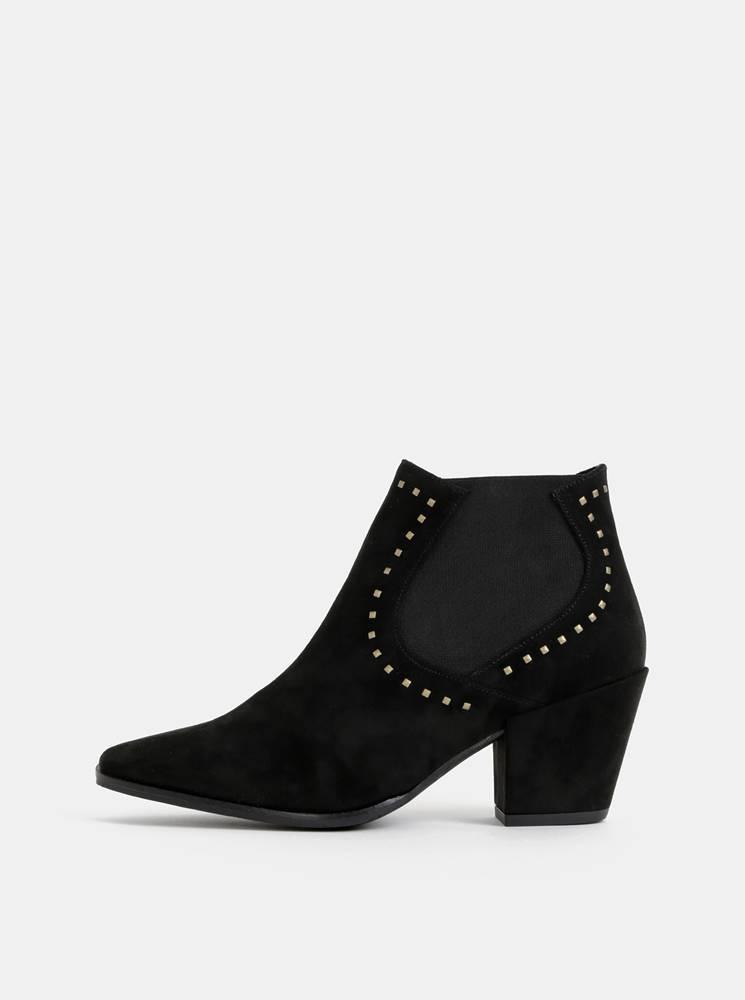 OJJU Čierne členkové topánky v semišovej úprave OJJU