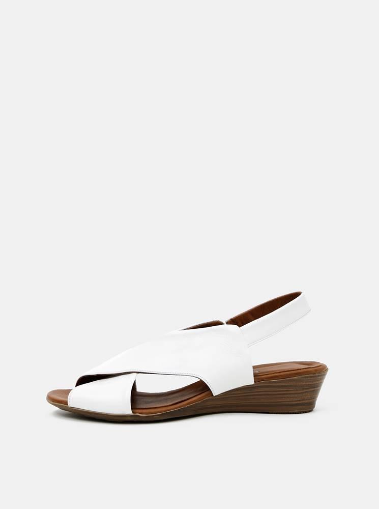 wild Biele kožené sandálky na plnom podpätku WILD