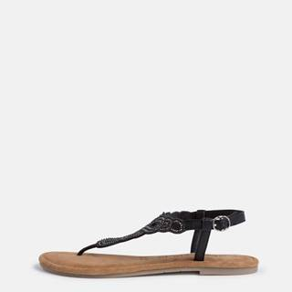 Čierne kožené sandále s korálkami Tamaris