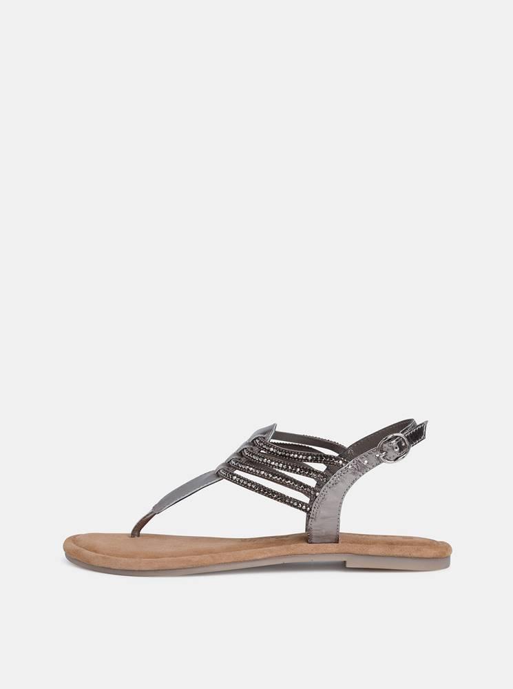 Tamaris Šedé kožené sandále s korálkami Tamaris