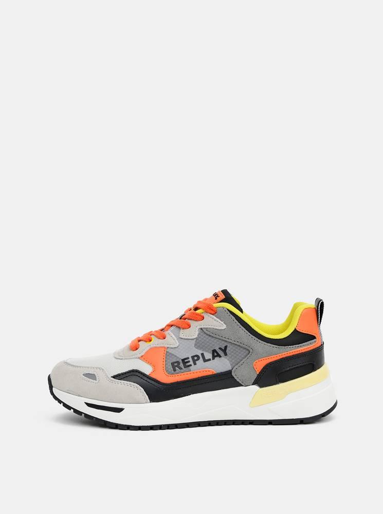 Replay Oranžovo-šedé pánske tenisky s koženými detailmi Replay